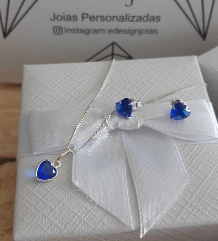 Conjunto ponto de luz  coração azul safira