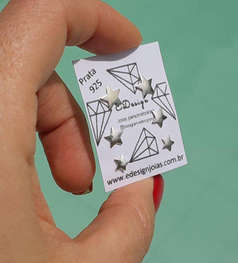 Kit de três brincos estrelas