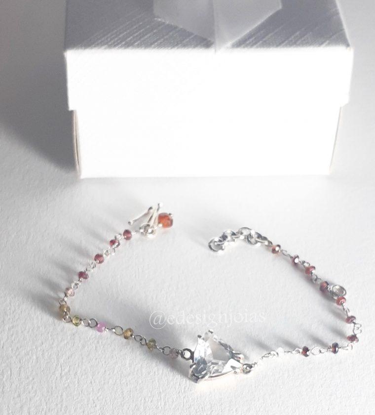 Pulseira Cristal e degradê de quartzo