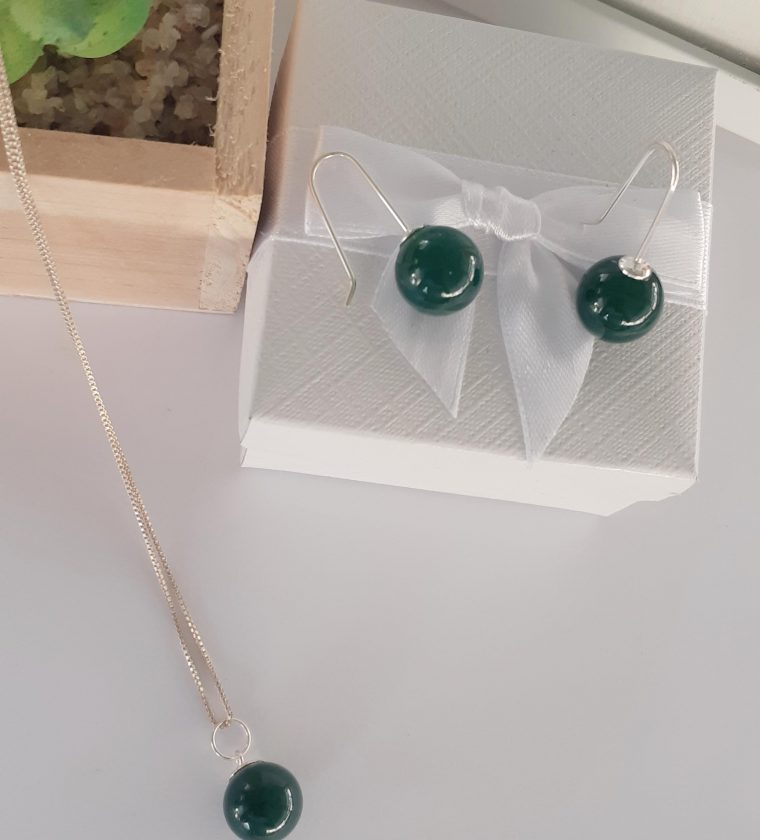 Conjunto Ágata verde pedra natural