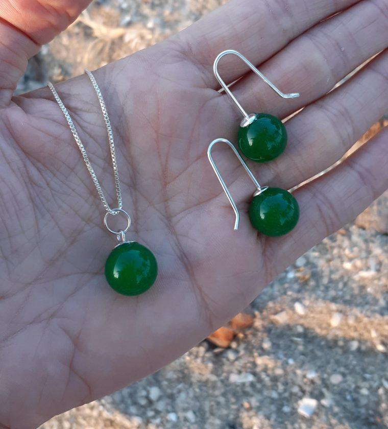 Conjunto Jade pedra natural