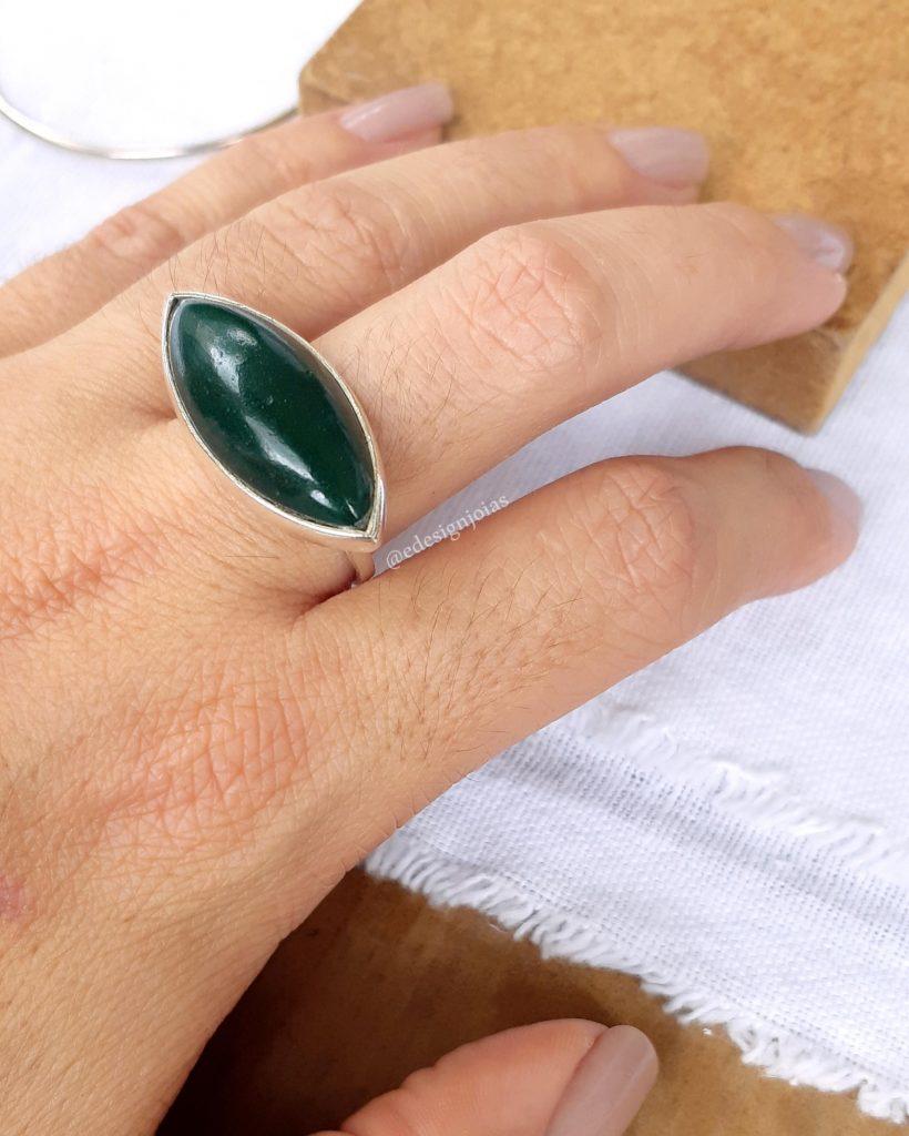 Anel pedra Jaspe verde