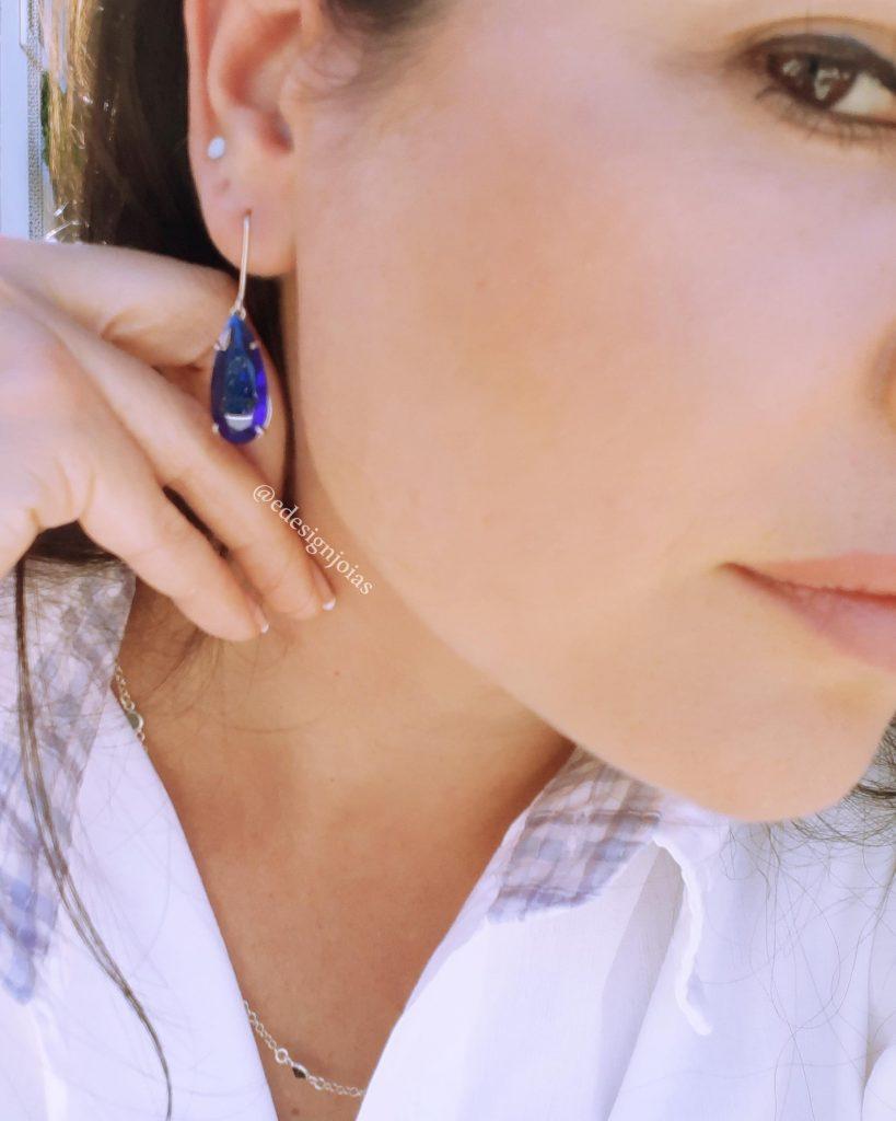 Brinco gancho Gota Azul Cristal