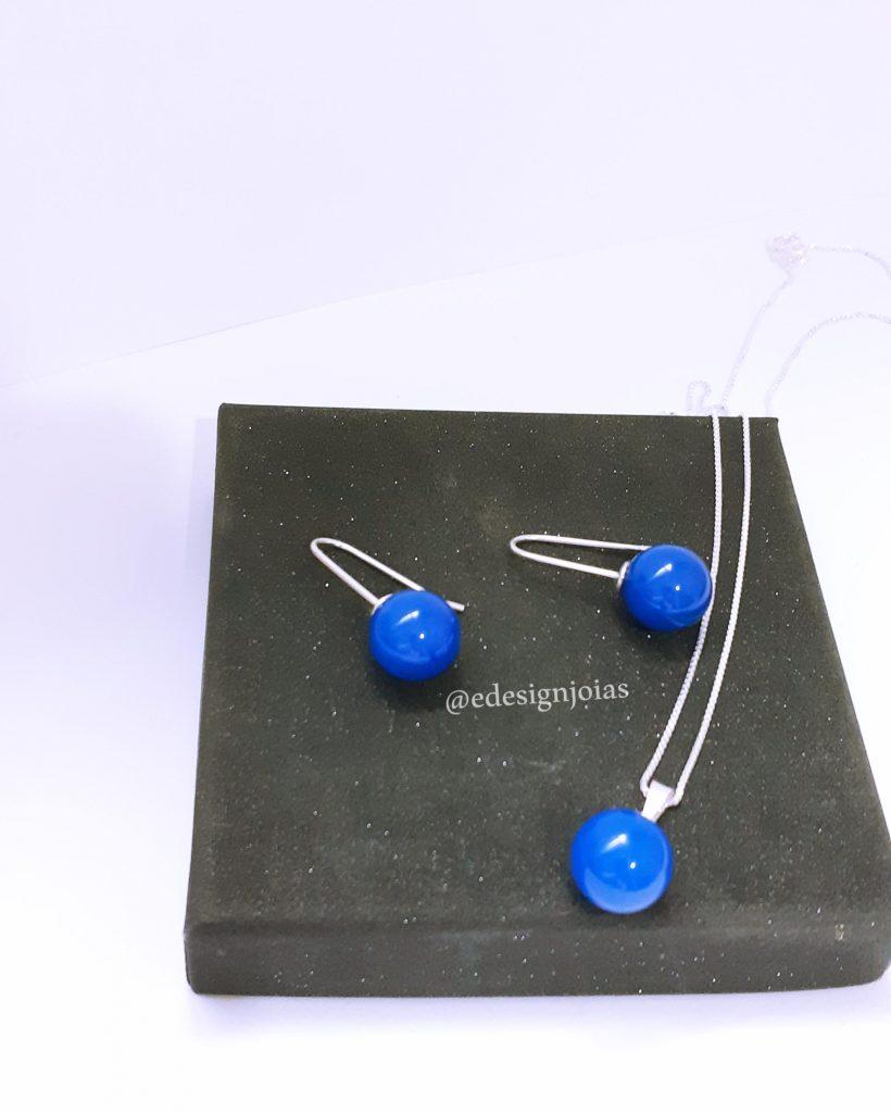 Conjunto pedra natural Bola Ágata Azul