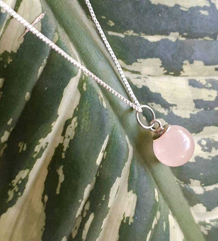 Conjunto pedra natural Bola Quartzo Rosa