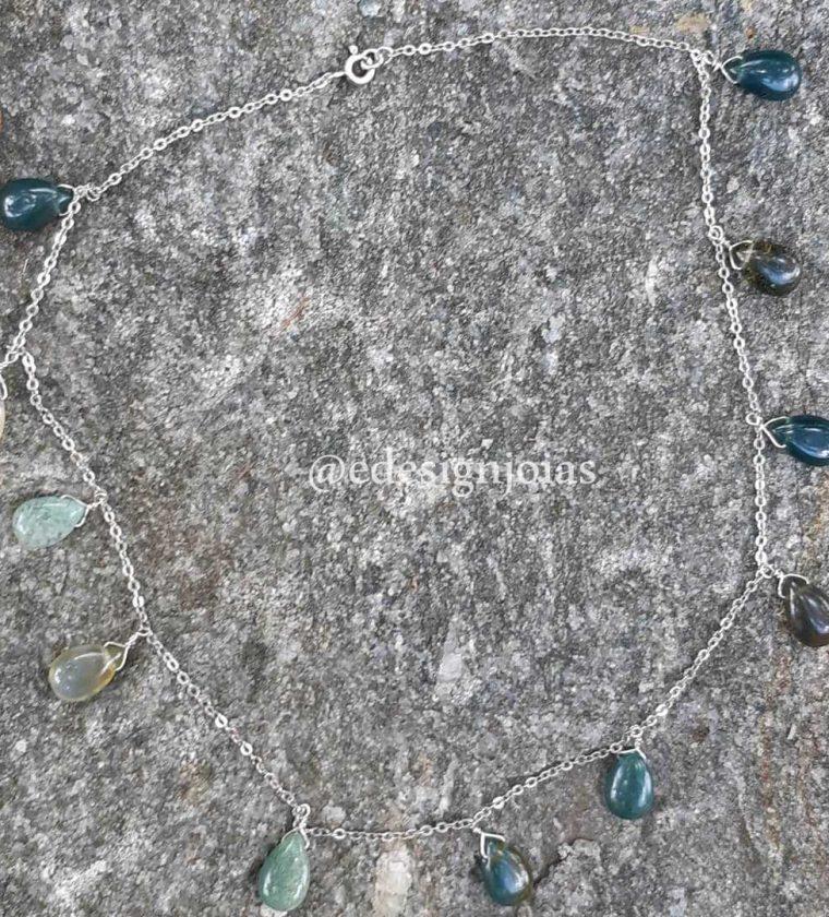 Colar Gotas de Ágata  verde