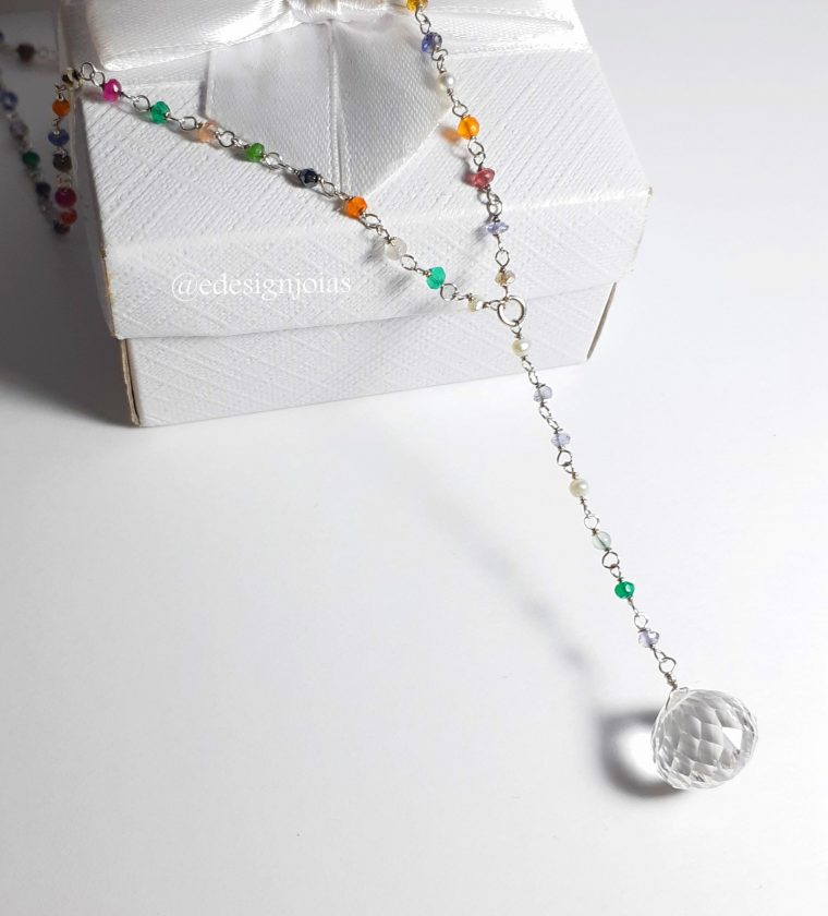 Gravatinha mix de pedras natural em prata 925