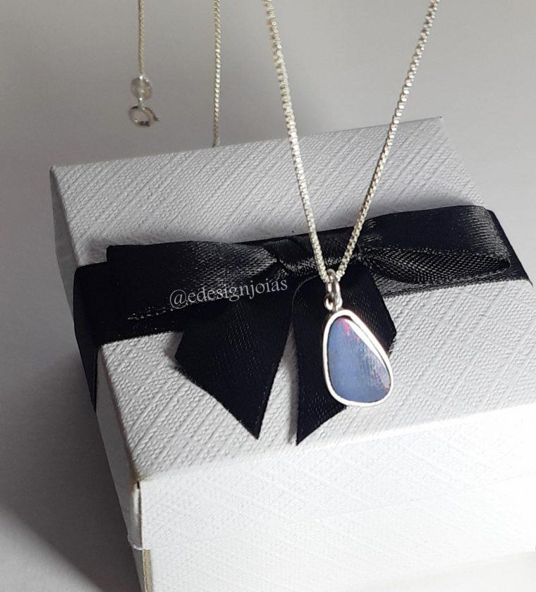 Colar opala azul em prata