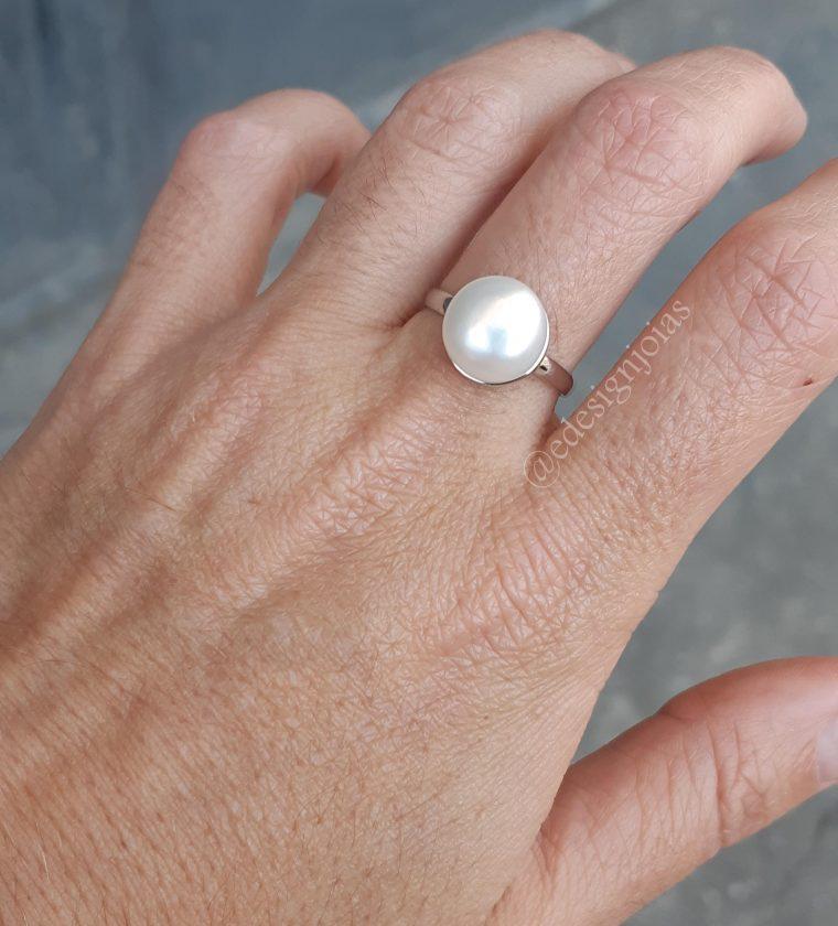 Anel Pérola shell em prata 925